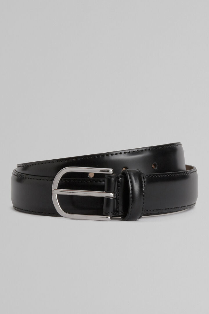 Smooth Leather Belt With Topstitching, Black, hi-res