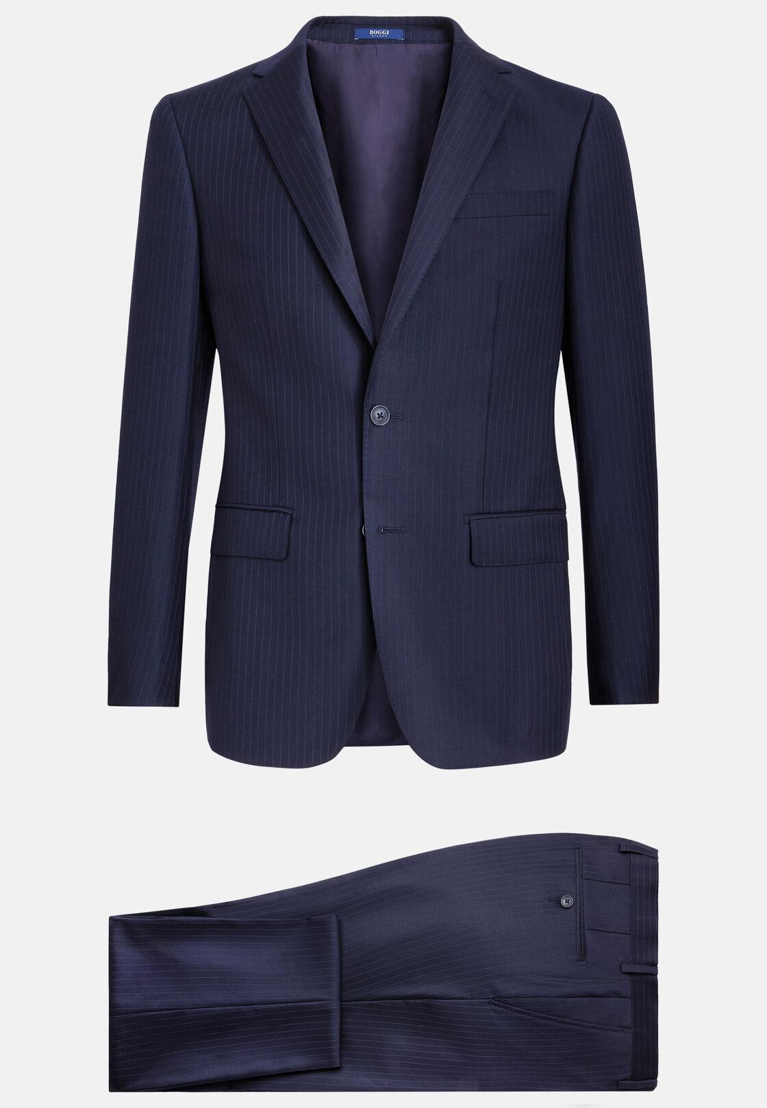 Blauer nadelstreifenanzug aus elastischer wolle, Navy blau, hi-res