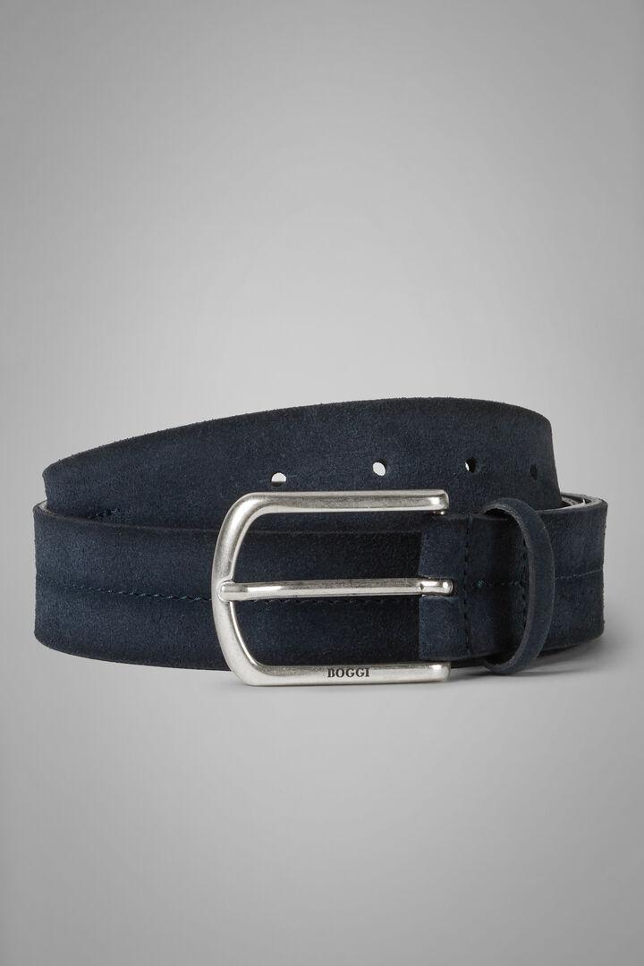 Suede Belt With Stamped Detail, Denim, hi-res