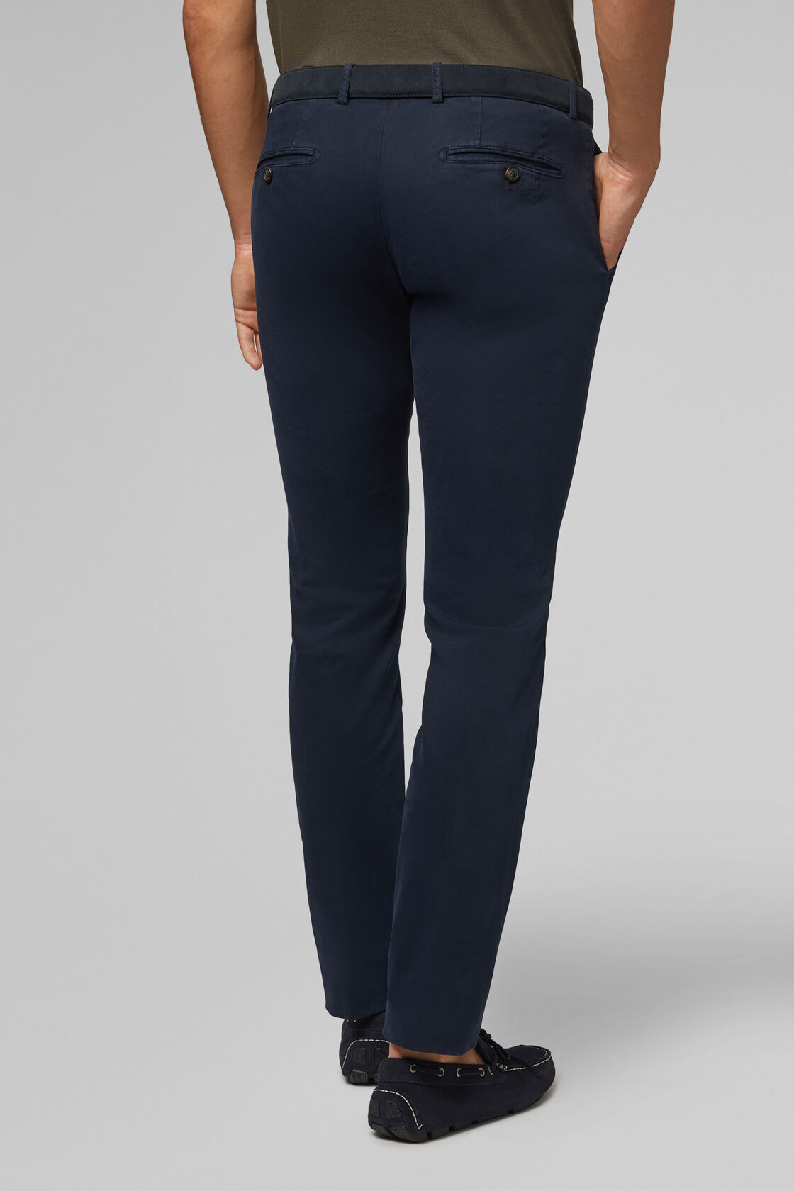 PANTALONE IN COTONE TRICOTINA STRETCH SLIM FIT, NAVY, hi-res