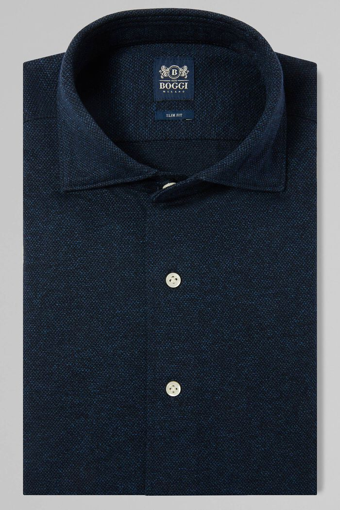 POLO CAMICIA BLU DENIM COLLO CHIUSO, , hi-res