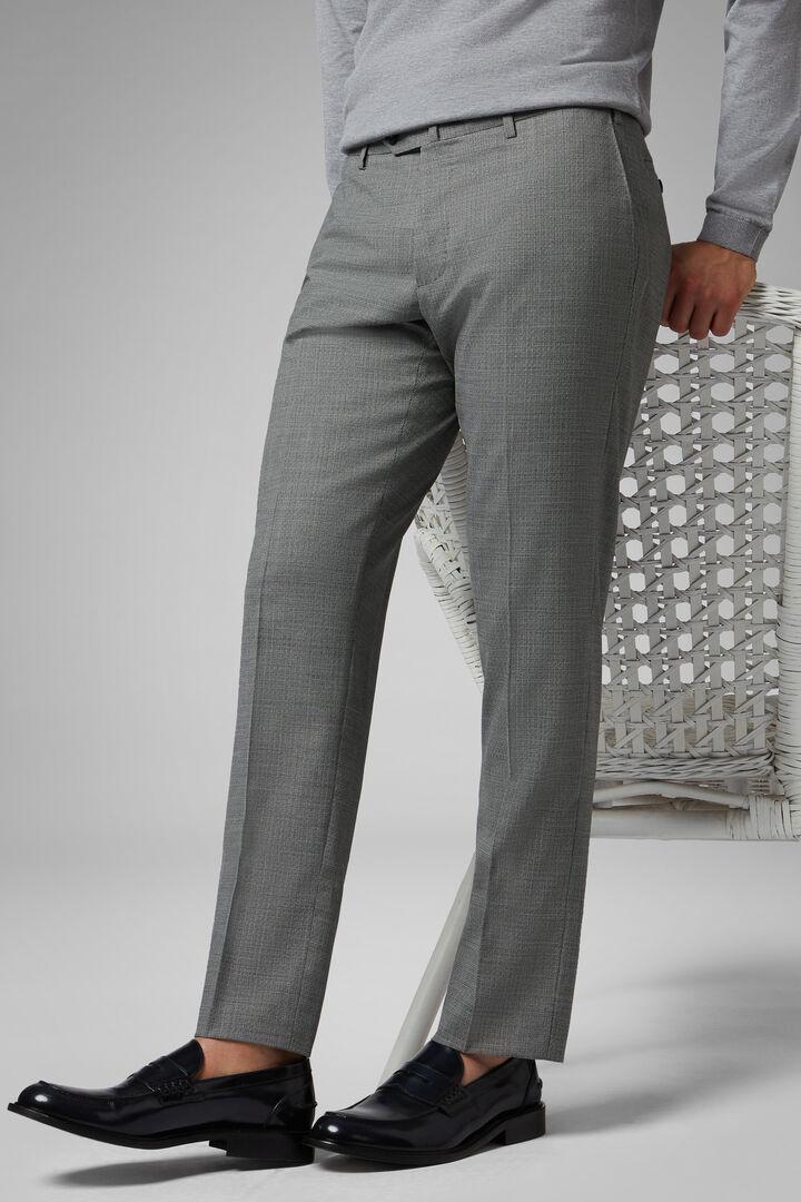 Regular Fit Machine Washable Stretch Wool Trousers, Grey - Black, hi-res