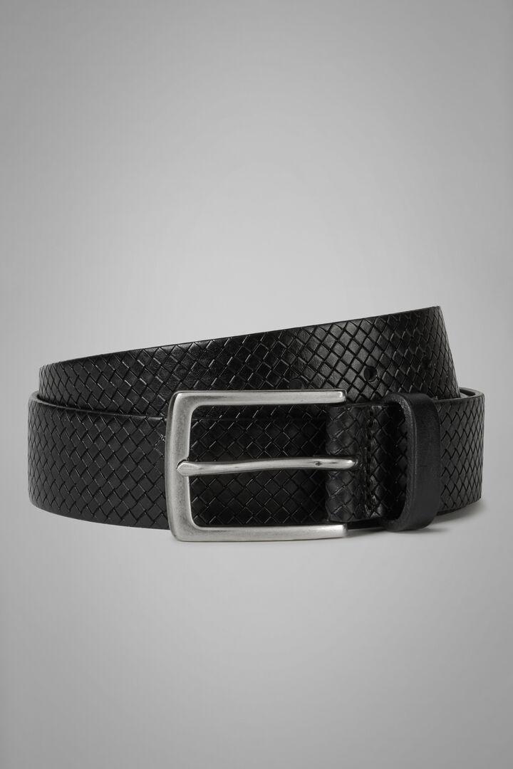 Woven Leather Belt, Black, hi-res