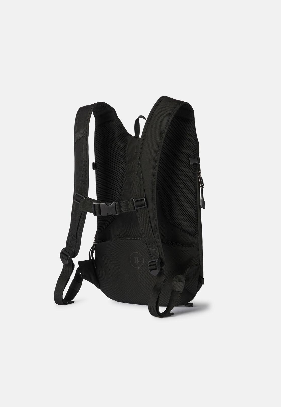 Schwarzer fahrradrucksack aus recyceltem technischem gewebe, Schwarz, hi-res