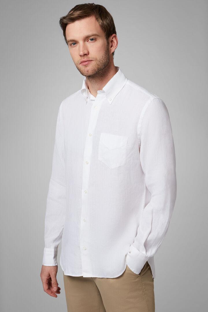 Camisa Regular Fit Blanca Con Cuello Button Down, Blanco, hi-res