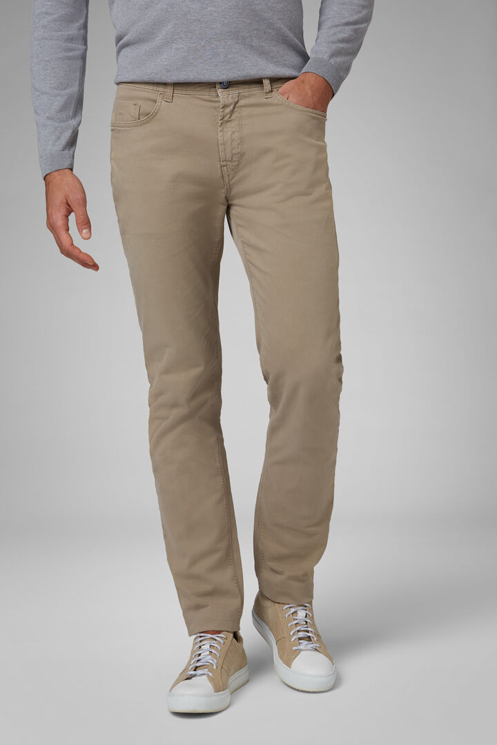 Regular Fit Stretch Cotton 5 Pocket Trousers, Beige, hi-res