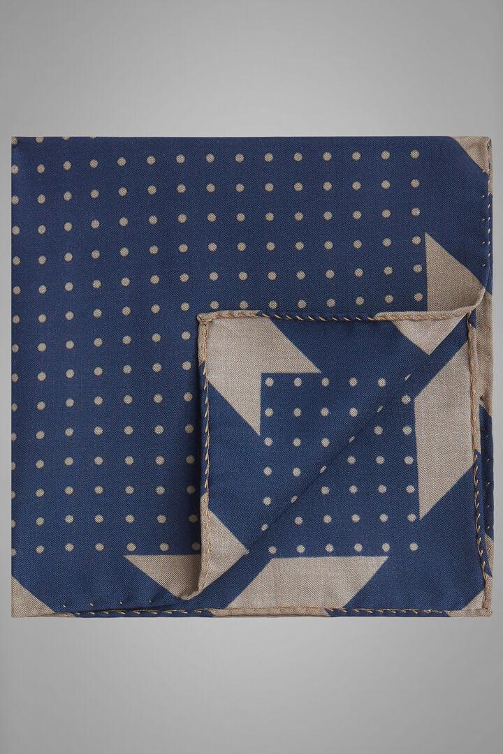Pochette À Pois En Soie Imprimée, Bleu - Taupe, hi-res
