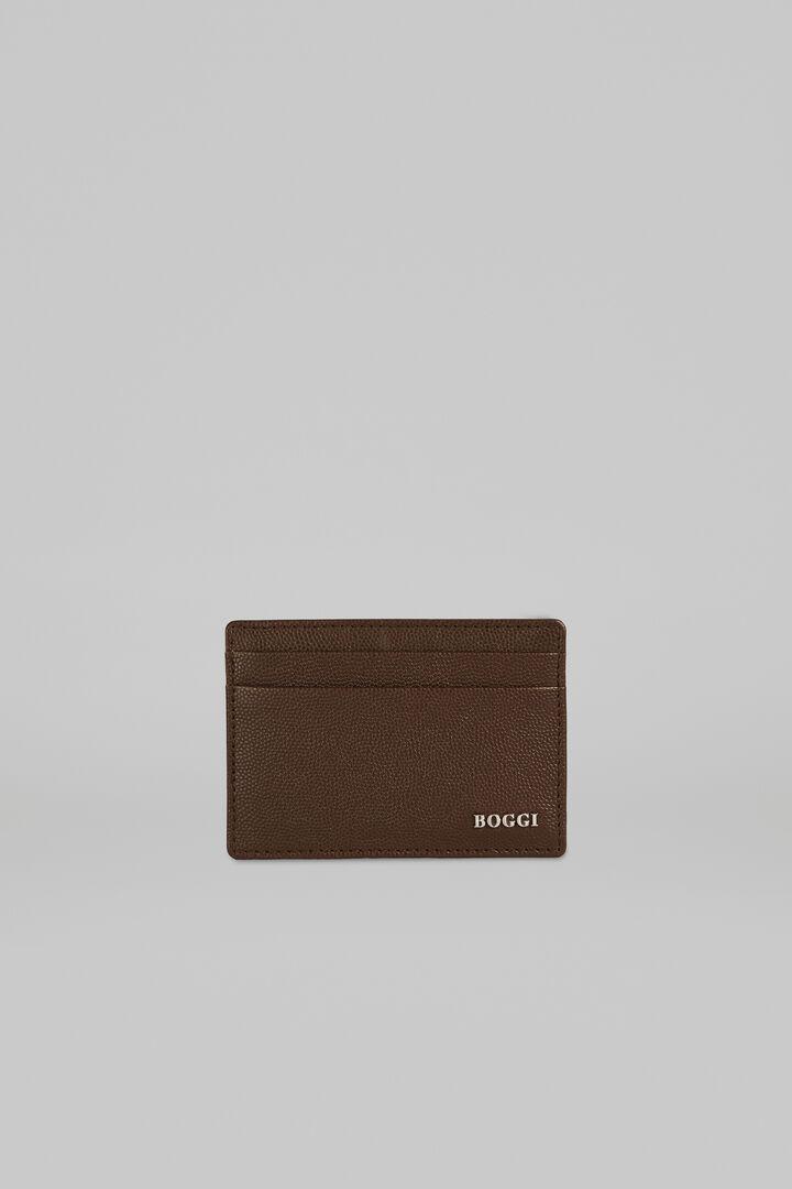 Caviar Leather Credit Card Holder, Dark brown, hi-res