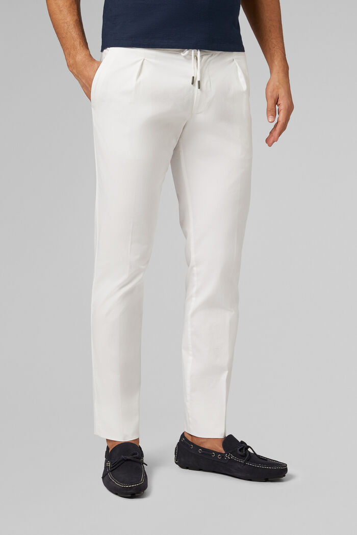 PANTALONE IN COTONE CON COULISSE SLIM FIT, , hi-res