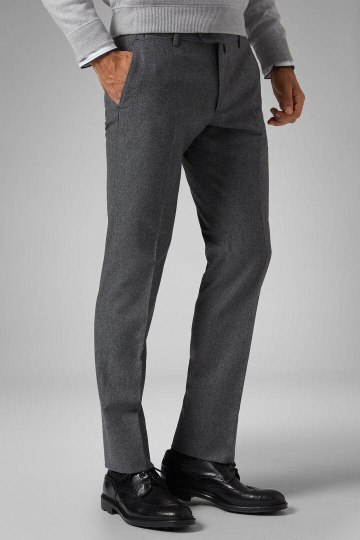 Pantalone In Flanella Di Lana Stretch Slim, Grigio medio, hi-res