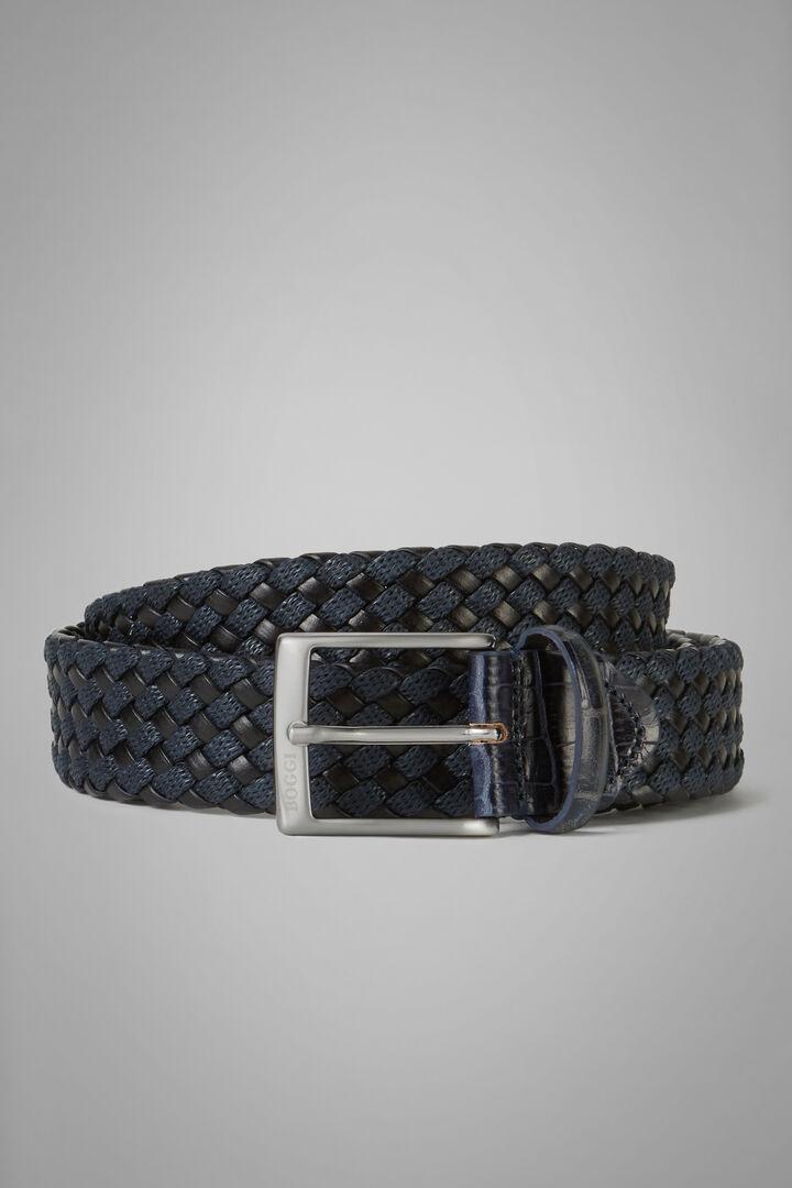 Cintura Tubolare Intrecciato In Pelle E Cotone, Navy, hi-res