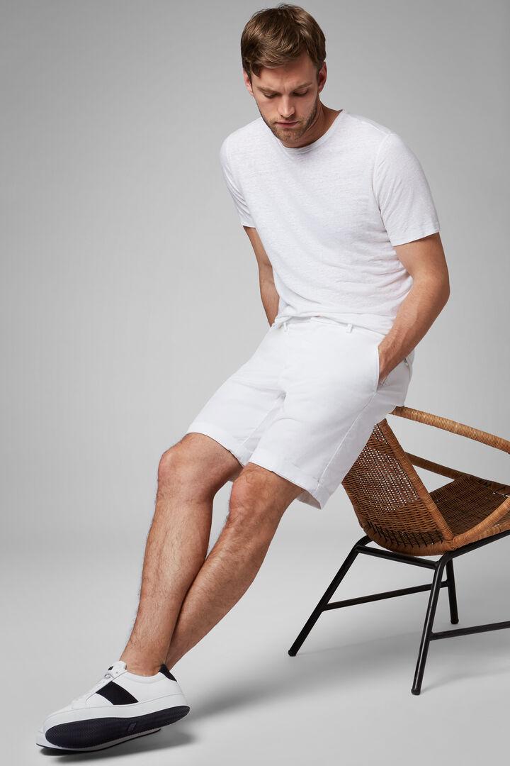 Plain Cotton Gabardine Bermuda Shorts, White, hi-res