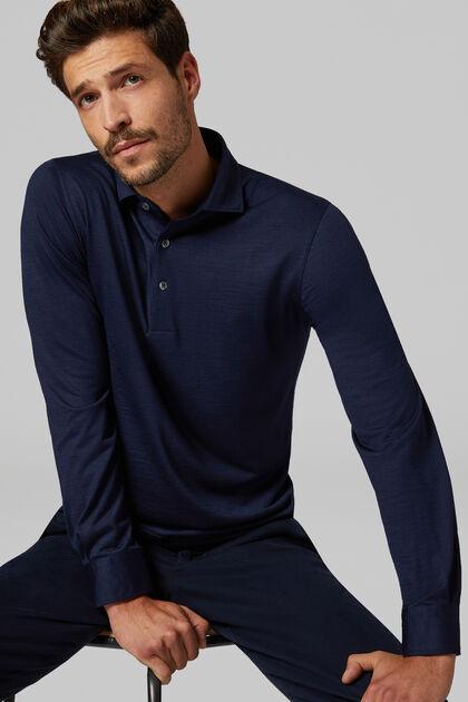 Polo En Jersey De Mérinos Coupe Ajustée, Bleu, hi-res