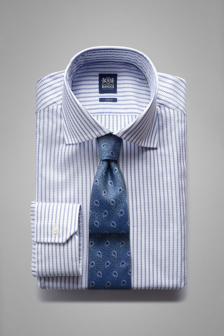 Camicia A Righe Blu Collo Windsor Slim Fit, Bianco - Blu, hi-res