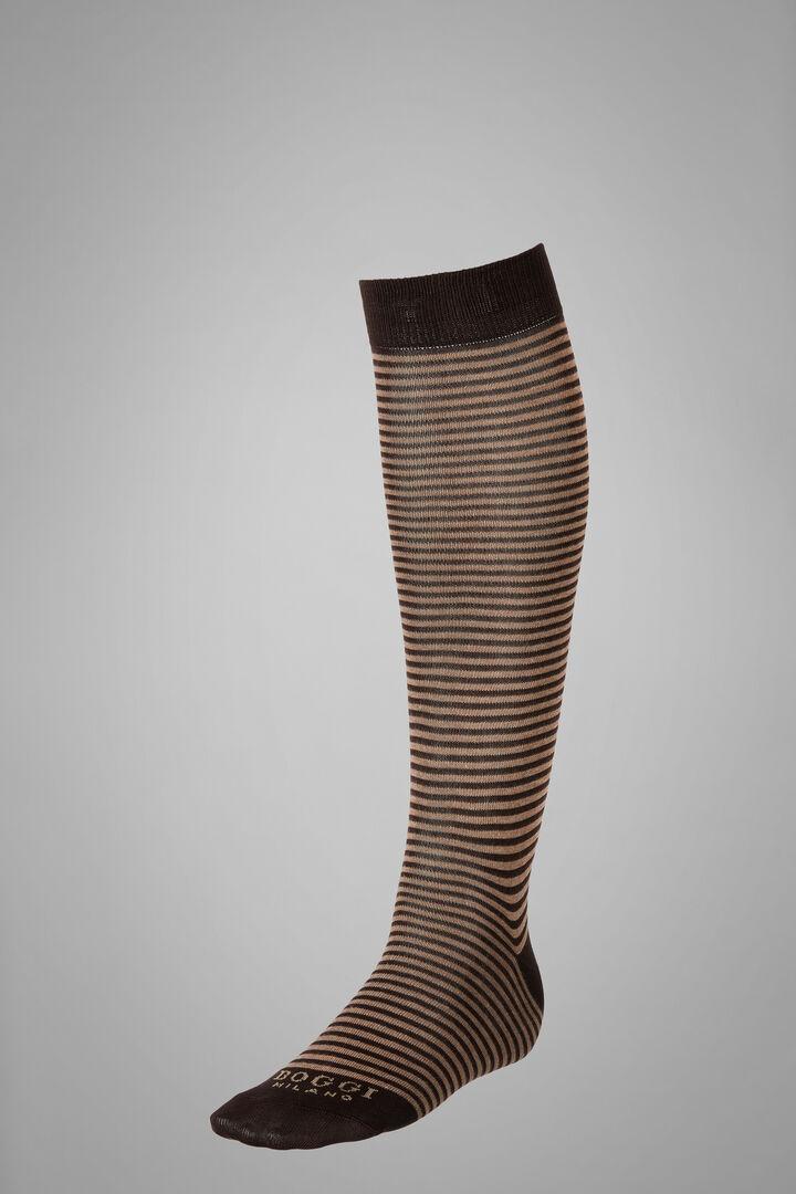 Long Socks With Striped Motif, Dark Brown - Natural, hi-res