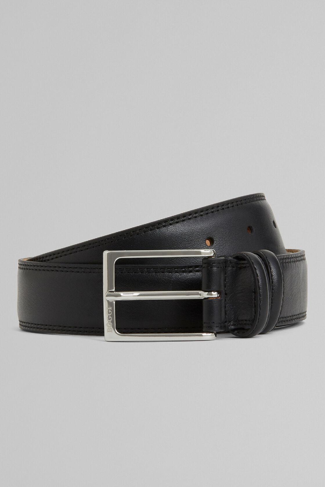 Cintura In Pelle Con Grana E Doppia Impuntura, Nero, hi-res