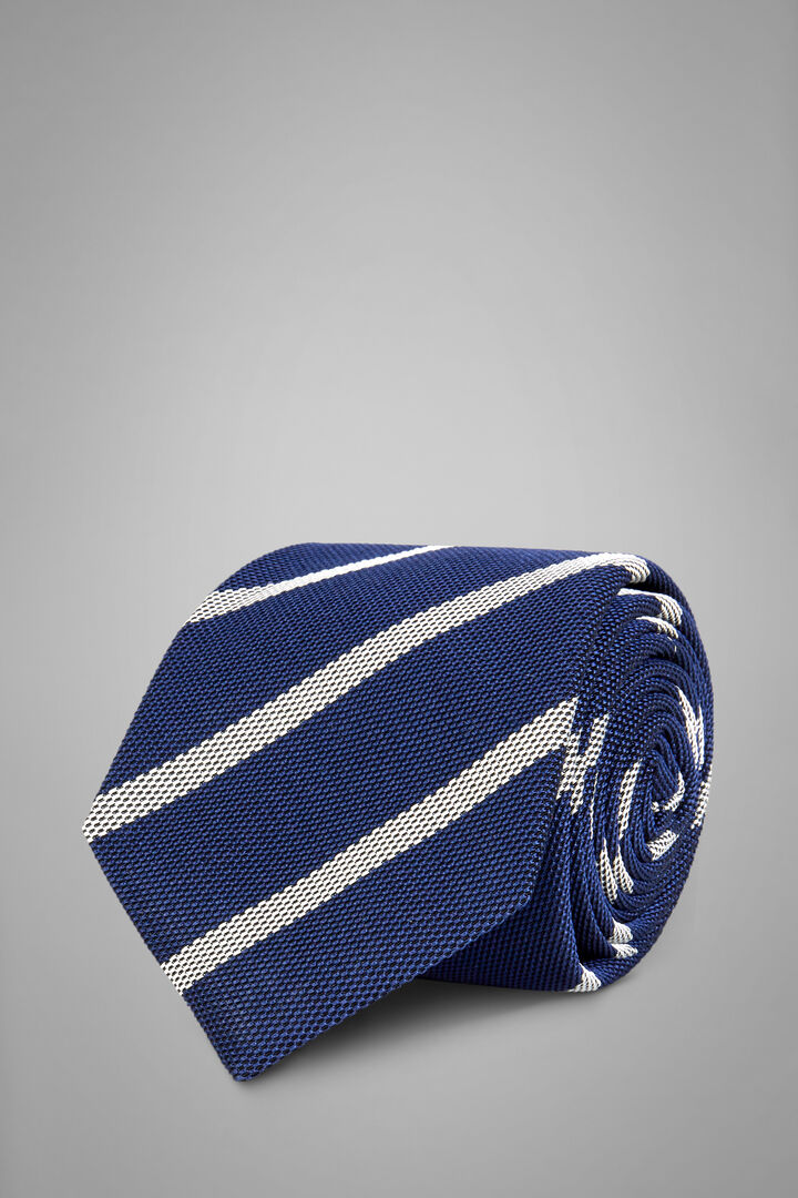 Regimental Silk/Cotton Jacquard Tie, Blue - White, hi-res