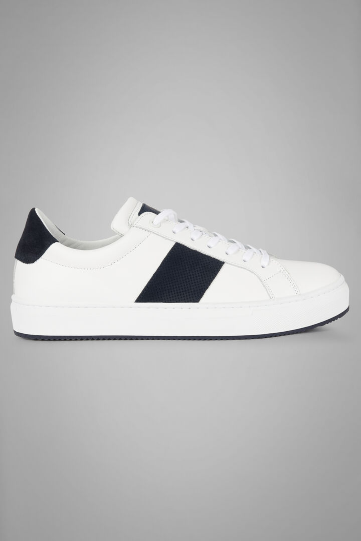 Leather Trainers With Microperforated Suede Strip, White - Blue, hi-res