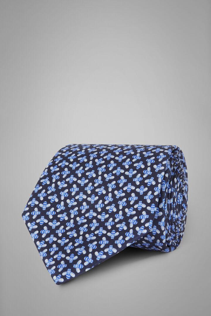 Bee Print Silk Tie, Blue - Light blue, hi-res