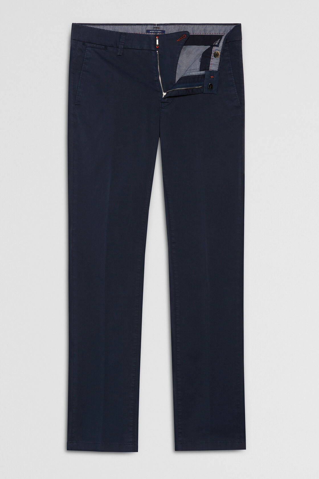 PANTALONE IN RASO DI COTONE STRETCH SLIM FIT, NAVY, hi-res