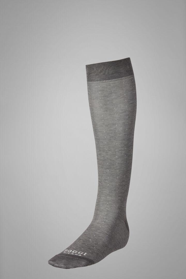 Long Socks With Micro Polka Dot Motif, Light grey, hi-res