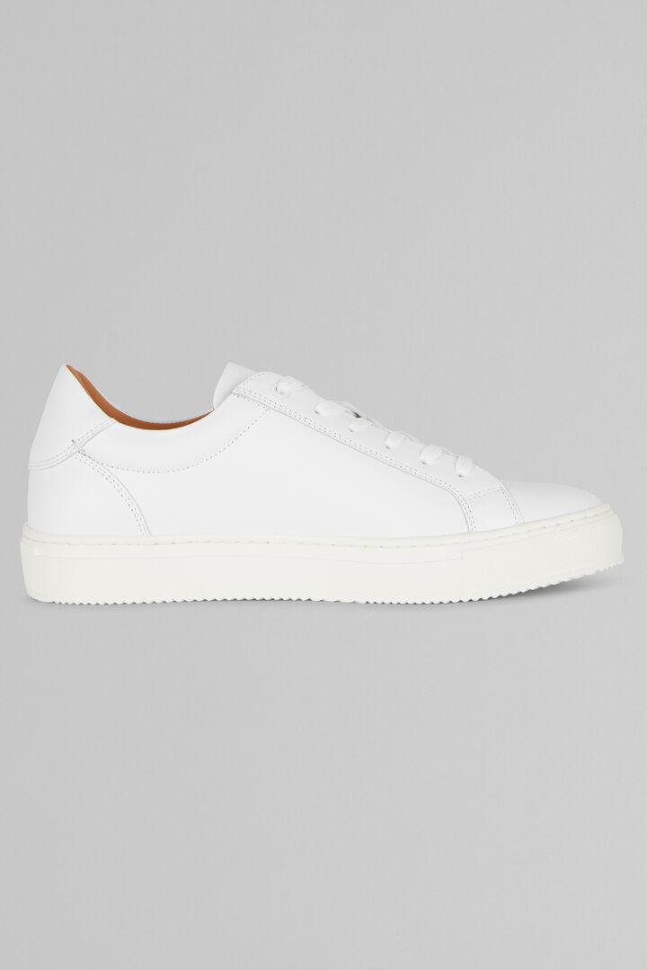 Smooth Leather Trainers, White, hi-res