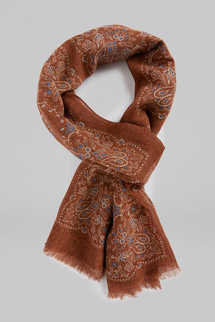 Paisley Print Wool Scarf, Rust, hi-res