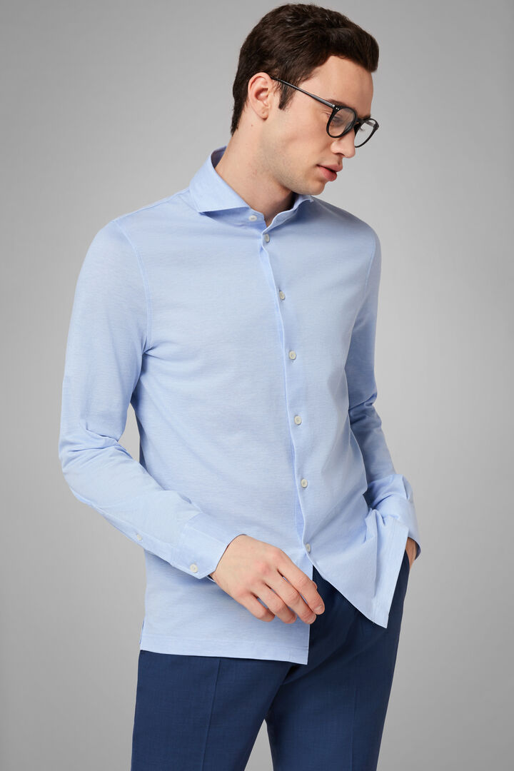 Slim Fit Sky Blue Casual Shirt With Open Collar, Light blue, hi-res