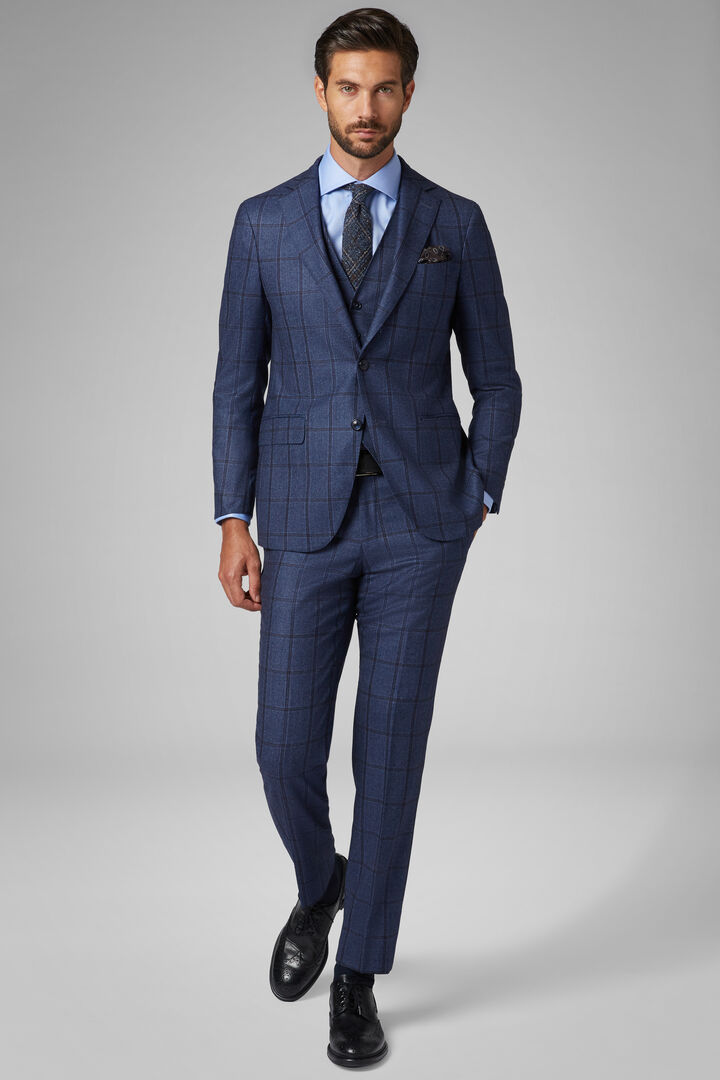Costume Bleu Mantova En Laine, Bleu, hi-res