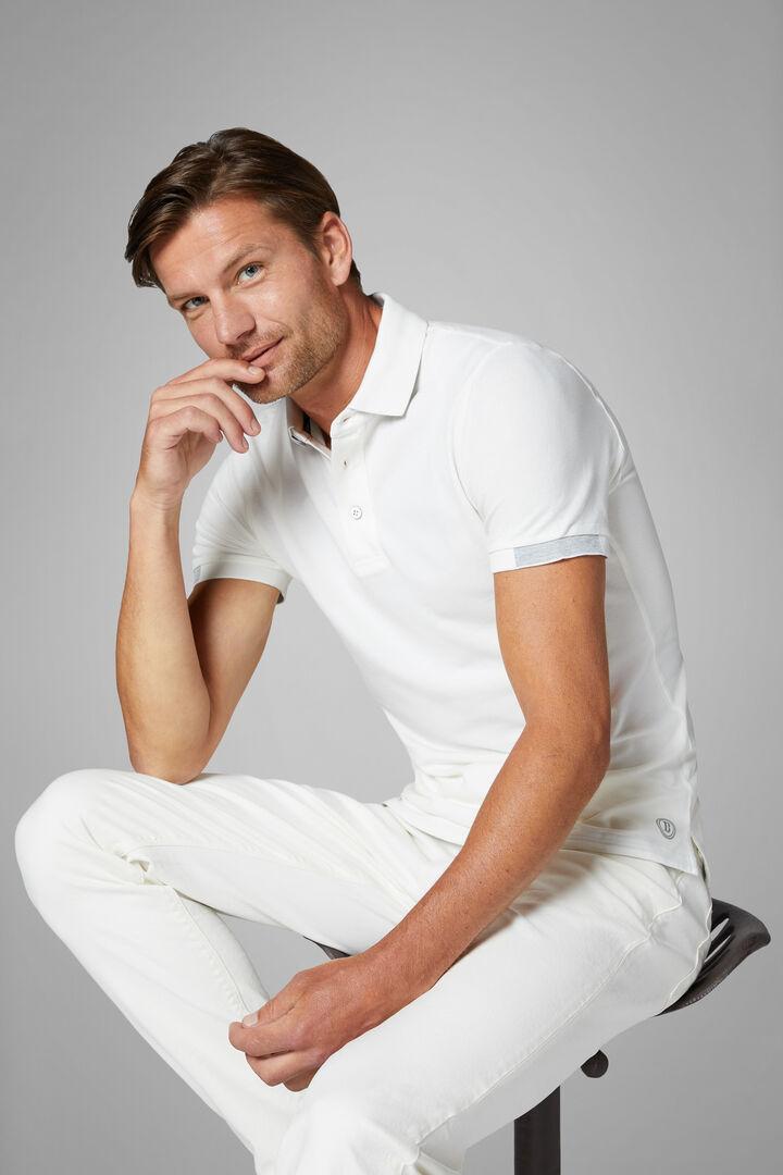 White Stretch Cotton/Tencel Piqué Polo Shirt, White, hi-res