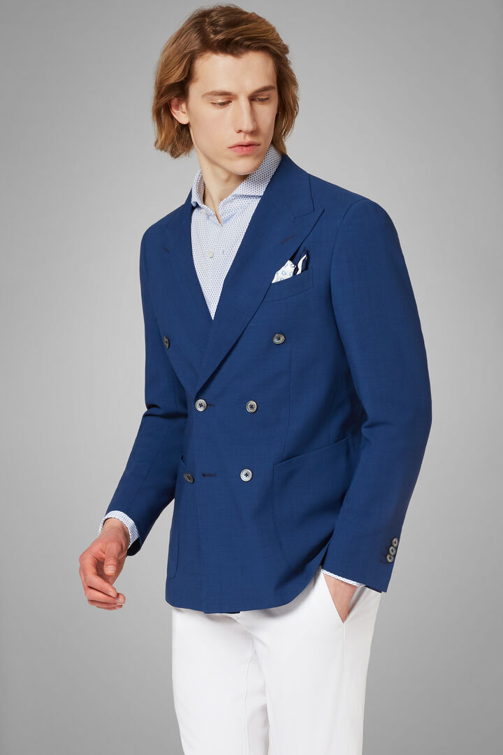 double breasted crepe wool blazer, Royal blue, hi-res