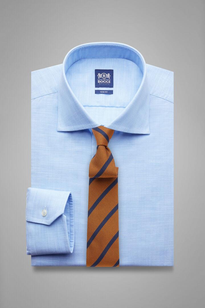 Slim Fit Sky Blue Shirt With Windsor Collar, Light blue, hi-res