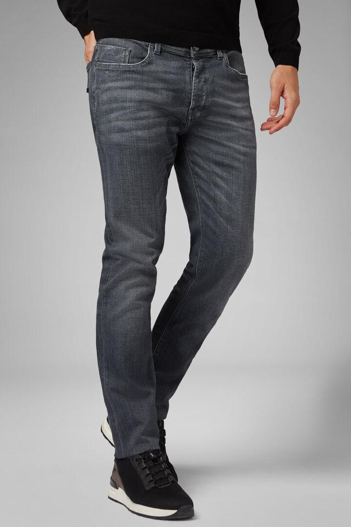Pantalón Slim Fit De Denim Gris Con Lavado Medio Y 5 Bolsillos, Gris, hi-res