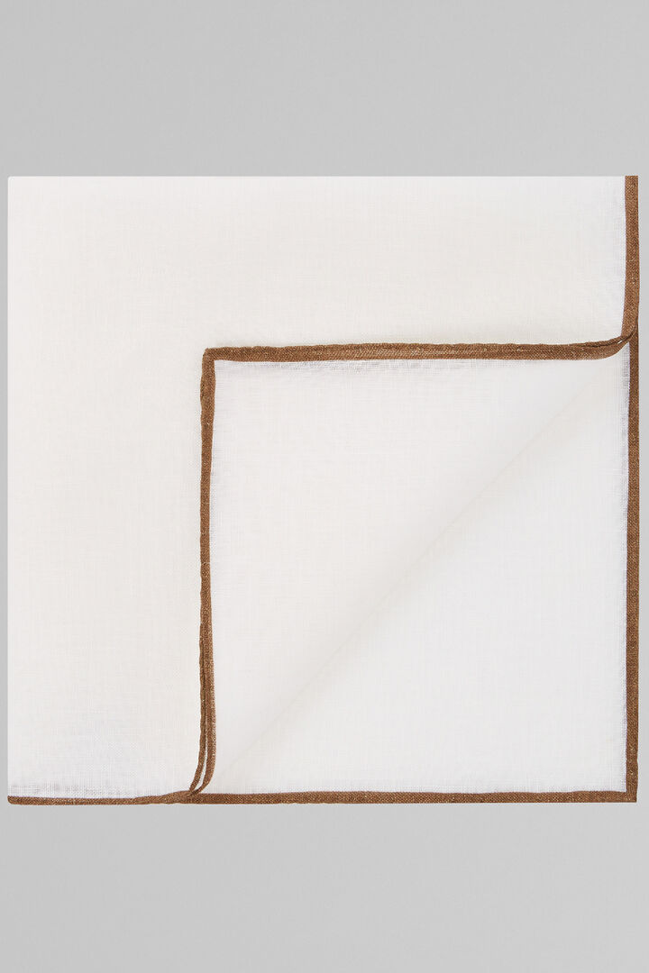 White Pure Linen Pocket Square With Brown Border, White - Brown, hi-res