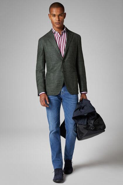 Green Wool/Silk Roma Blazer, Green, hi-res