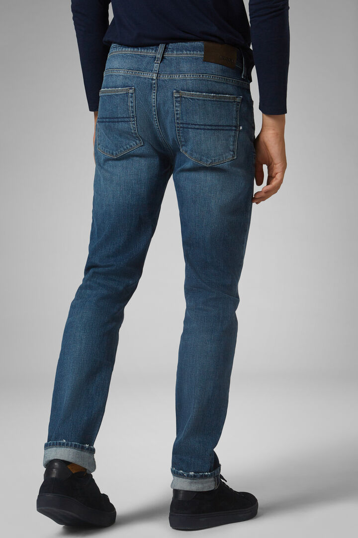 Regular Fit Medium Wash Denim 5 Pocket Jeans, Denim, hi-res