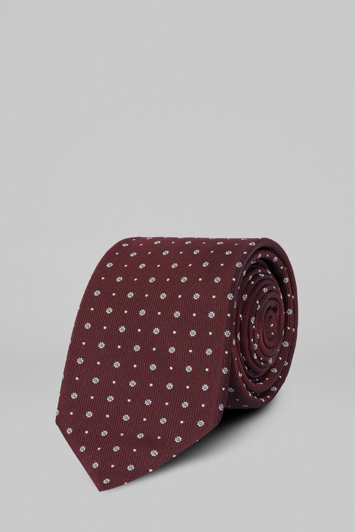Krawatte Mit Blumenmuster Aus Seidenjacquard, Burgund, hi-res