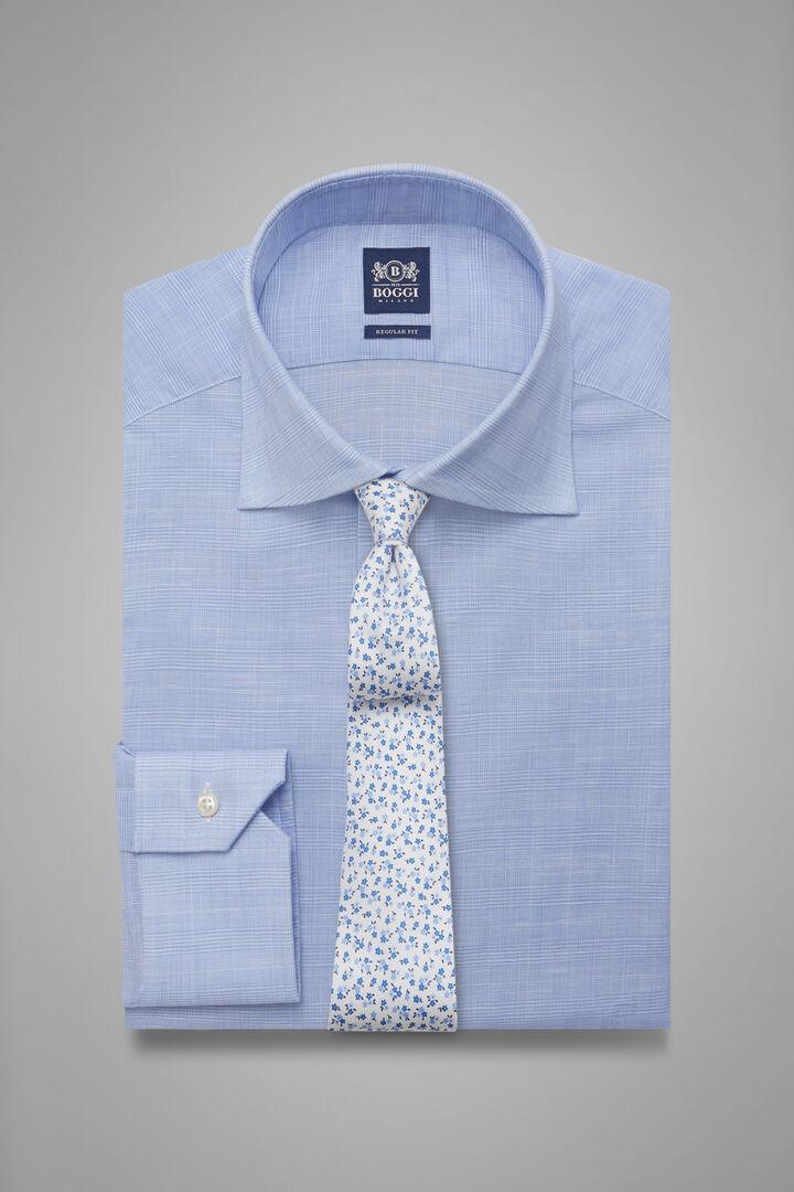 Hemd Prince Of Wales Mit Windsor-Kragen Azurblau Regular Fit, Hellblau, hi-res