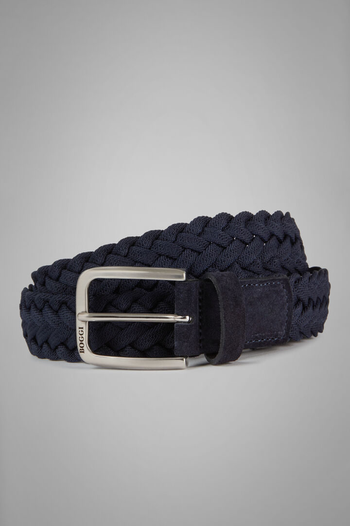 Woven Stretch Leather Belt, Navy blue, hi-res