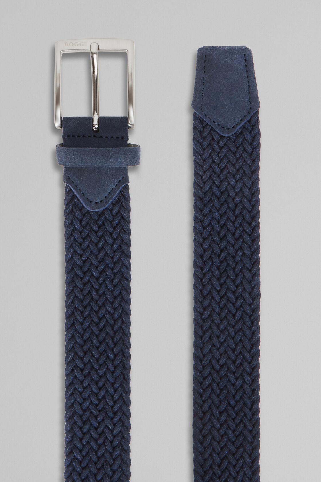 Cintura Nastro Treccia Elastica, Navy, hi-res
