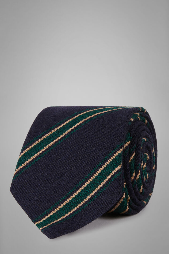 Cravatta Regimental In Lana Seta, Blu - Verde, hi-res