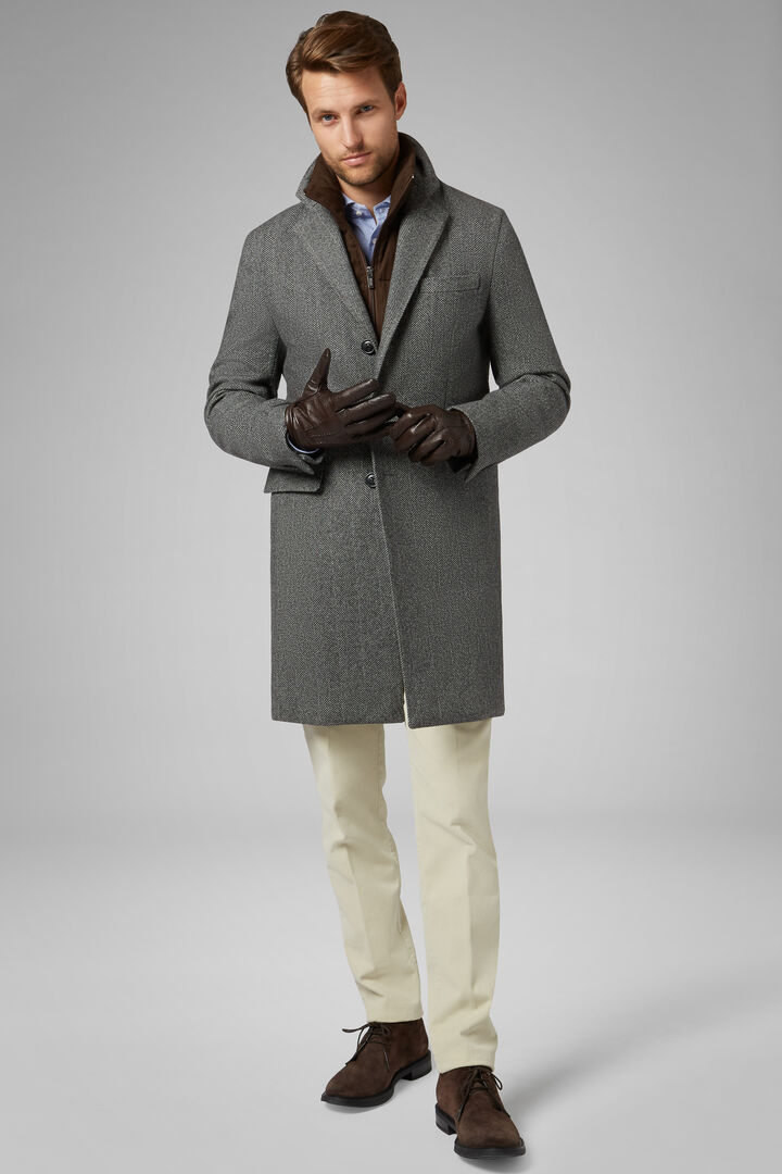 Padded Herringbone Wool Coat With Bib, Grey, hi-res