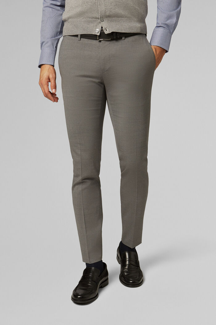 PANTALON EN TOILE DE LAINE STRETCH COUPE SLIM, , hi-res