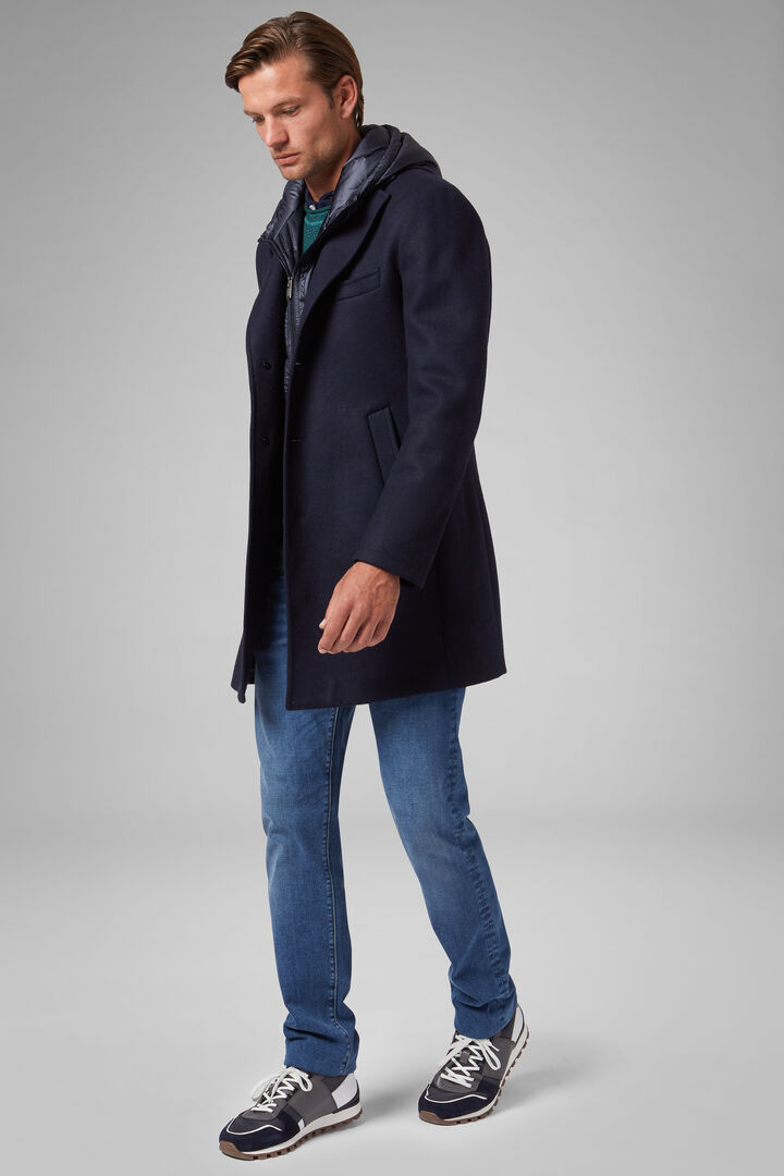 Jersey Coat With Bib And Hood, Navy blue, hi-res