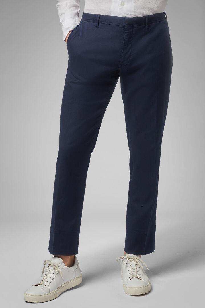 Pantalon En Gabardine De Coton Tencel Coupe Droite, bleu marin, hi-res