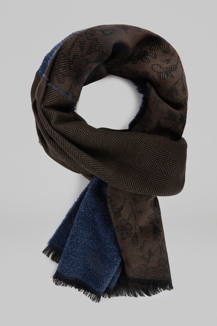 Mixed Pattern Wool Scarf, Brown - Blue, hi-res