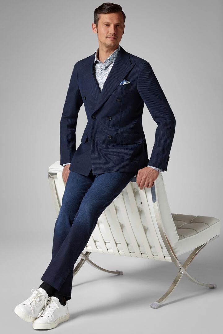 Blazer Bleu Torino En Laine Et Coton, Bleu, hi-res