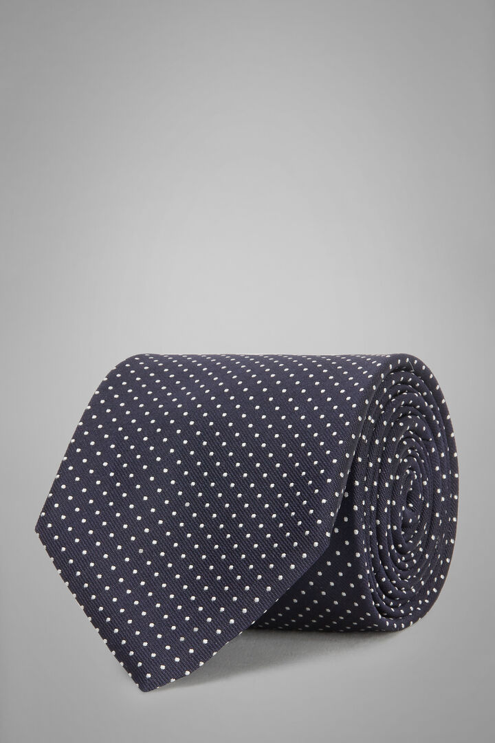 Micro Polka Dot Silk Jacquard Tie, Navy blue, hi-res