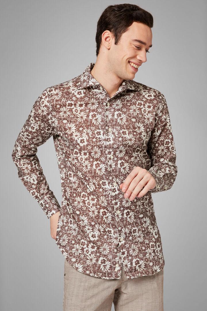 Camicia Stampa Moro-Beige Collo Bowling Regular, Moro - Beige, hi-res