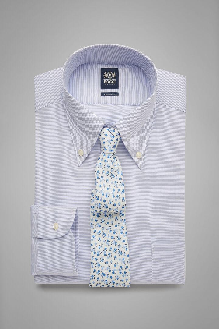 Hemd Mit Boston-Kragen Azurblau-Blau Regular Fit, Hellblau, hi-res